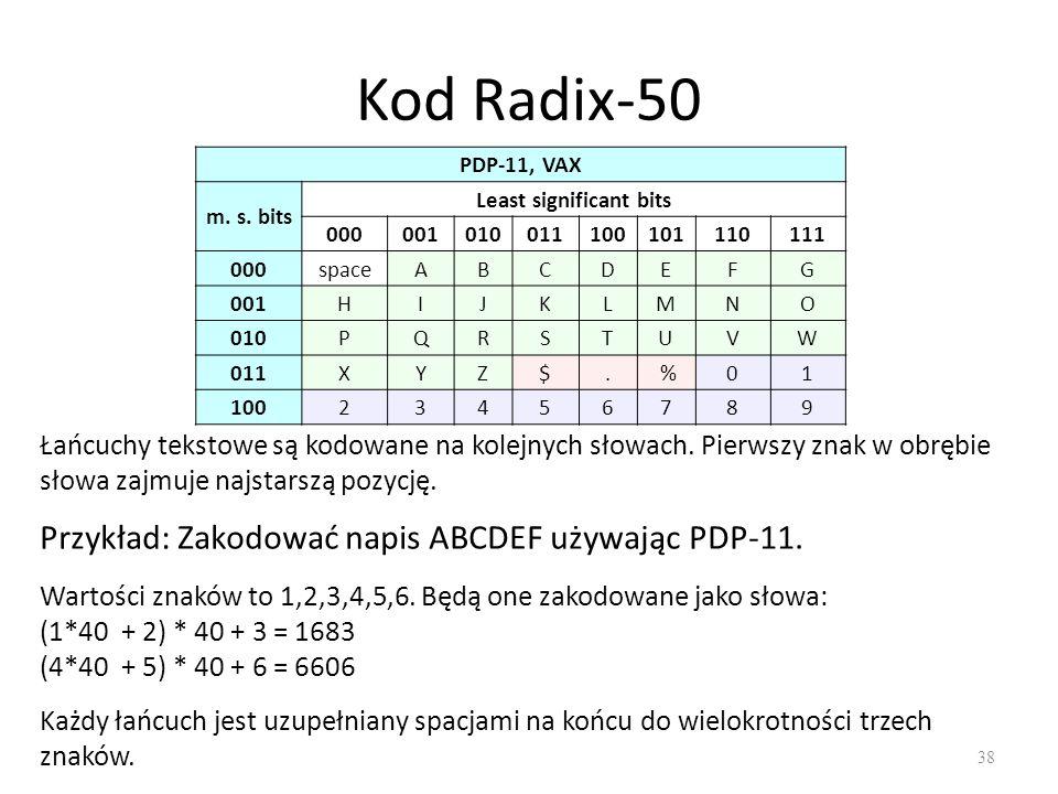 Kod Radix-50 38 PDP-11, VAX m.s.