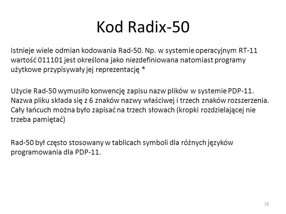 Kod Radix-50 39 Rad-50 był często stosowany w tablicach symboli dla różnych języków programowania dla PDP-11.