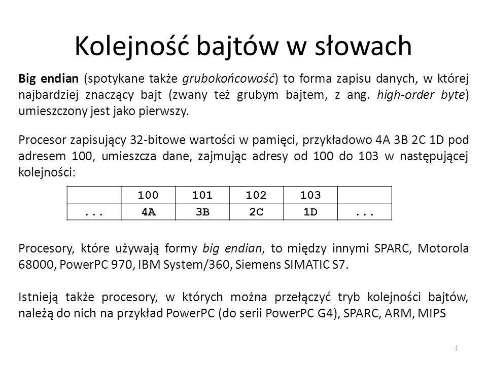 Kolejność bajtów w słowach 4 Big endian (spotykane także grubokońcowość) to forma zapisu danych, w której najbardziej znaczący bajt (zwany też grubym bajtem, z ang.