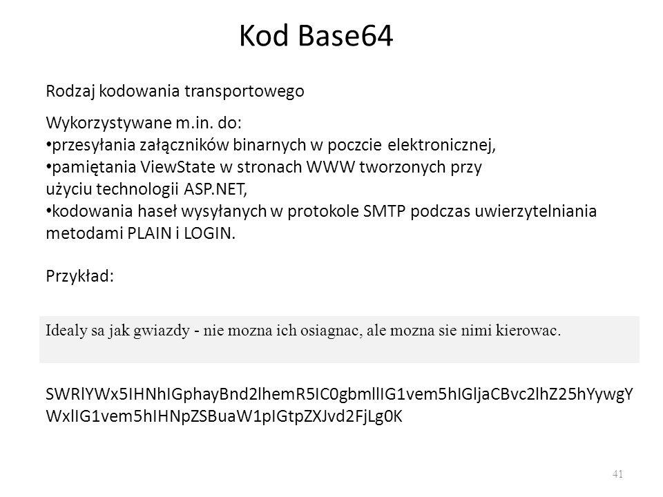 Kod Base64 41 Idealy sa jak gwiazdy - nie mozna ich osiagnac, ale mozna sie nimi kierowac.