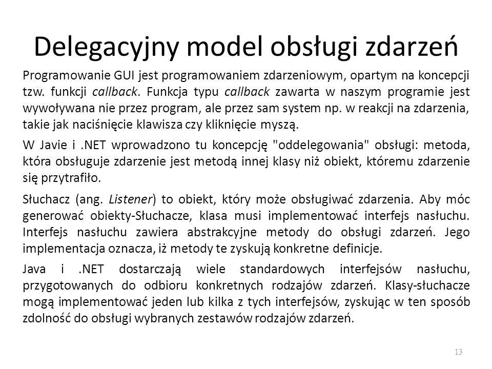 Delegacyjny model obsługi zdarzeń Słuchacz (ang. Listener) to obiekt, który może obsługiwać zdarzenia. Aby móc generować obiekty-Słuchacze, klasa musi