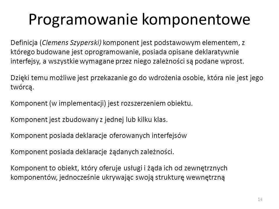 Programowanie komponentowe 14 Definicja (Clemens Szyperski) komponent jest podstawowym elementem, z którego budowane jest oprogramowanie, posiada opis