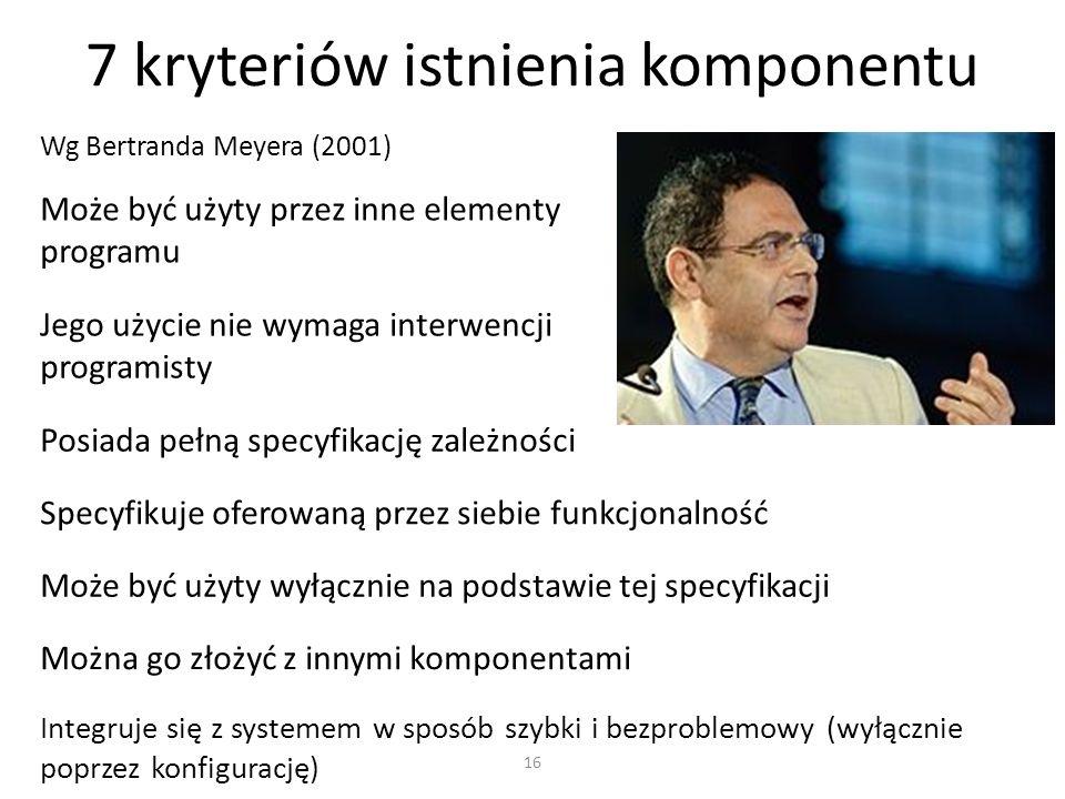16 7 kryteriów istnienia komponentu Wg Bertranda Meyera (2001) Może być użyty przez inne elementy programu Jego użycie nie wymaga interwencji programi