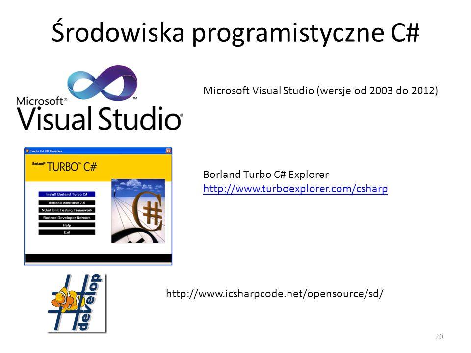 Środowiska programistyczne C# 20 Microsoft Visual Studio (wersje od 2003 do 2012) Borland Turbo C# Explorer http://www.turboexplorer.com/csharp http:/