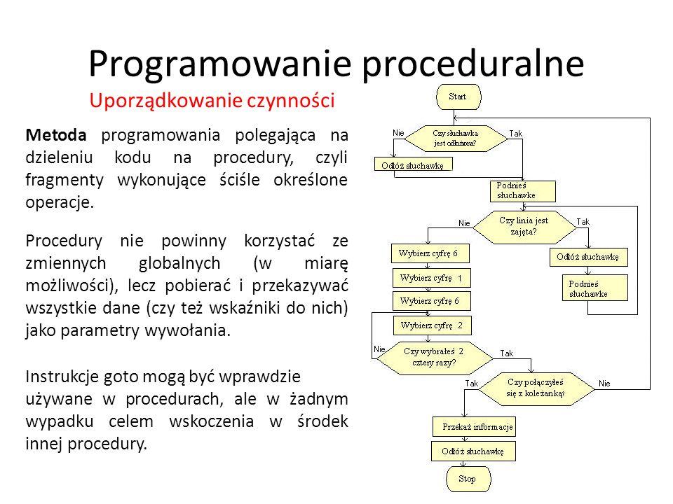 Programowanie proceduralne Metoda programowania polegająca na dzieleniu kodu na procedury, czyli fragmenty wykonujące ściśle określone operacje. Uporz