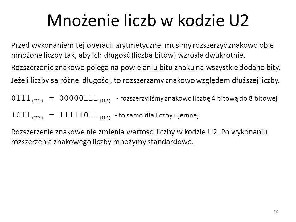 Mnożenie liczb w kodzie U2 10 Przed wykonaniem tej operacji arytmetycznej musimy rozszerzyć znakowo obie mnożone liczby tak, aby ich długość (liczba b