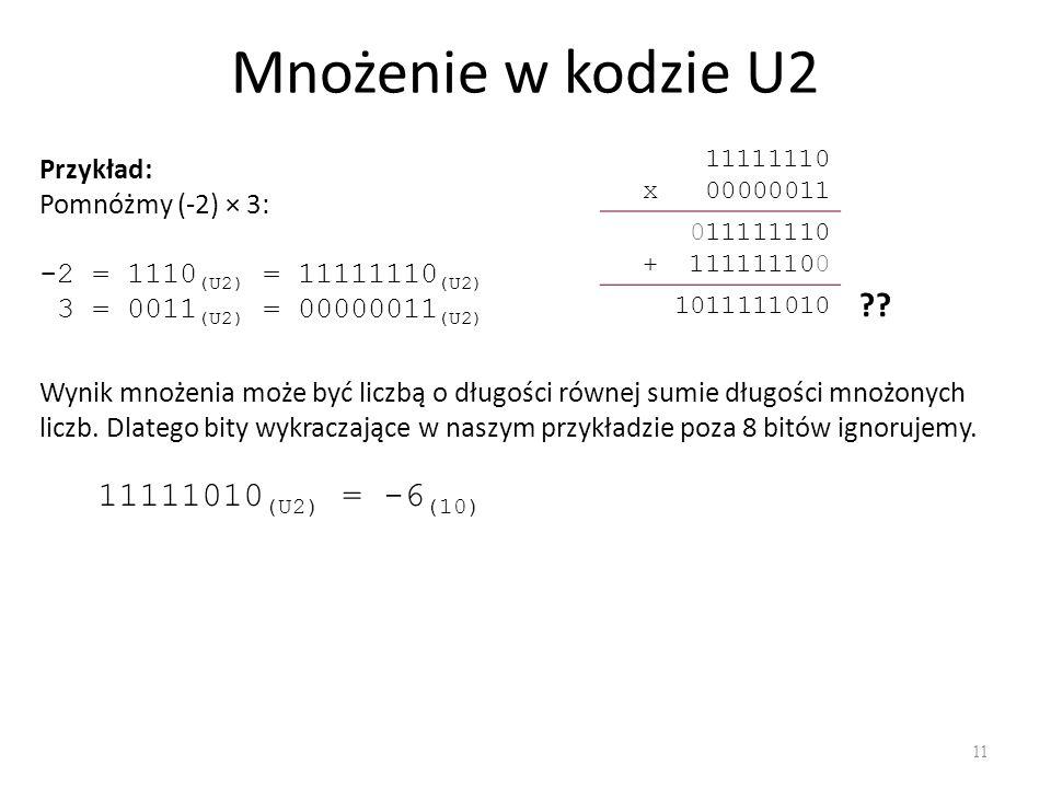 Mnożenie w kodzie U2 11 Przykład: Pomnóżmy (-2) × 3: -2 = 1110 (U2) = 11111110 (U2) 3 = 0011 (U2) = 00000011 (U2) 11111110 x 00000011 011111110 + 1111