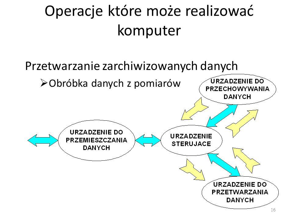 Operacje które może realizować komputer Przetwarzanie zarchiwizowanych danych Obróbka danych z pomiarów 16