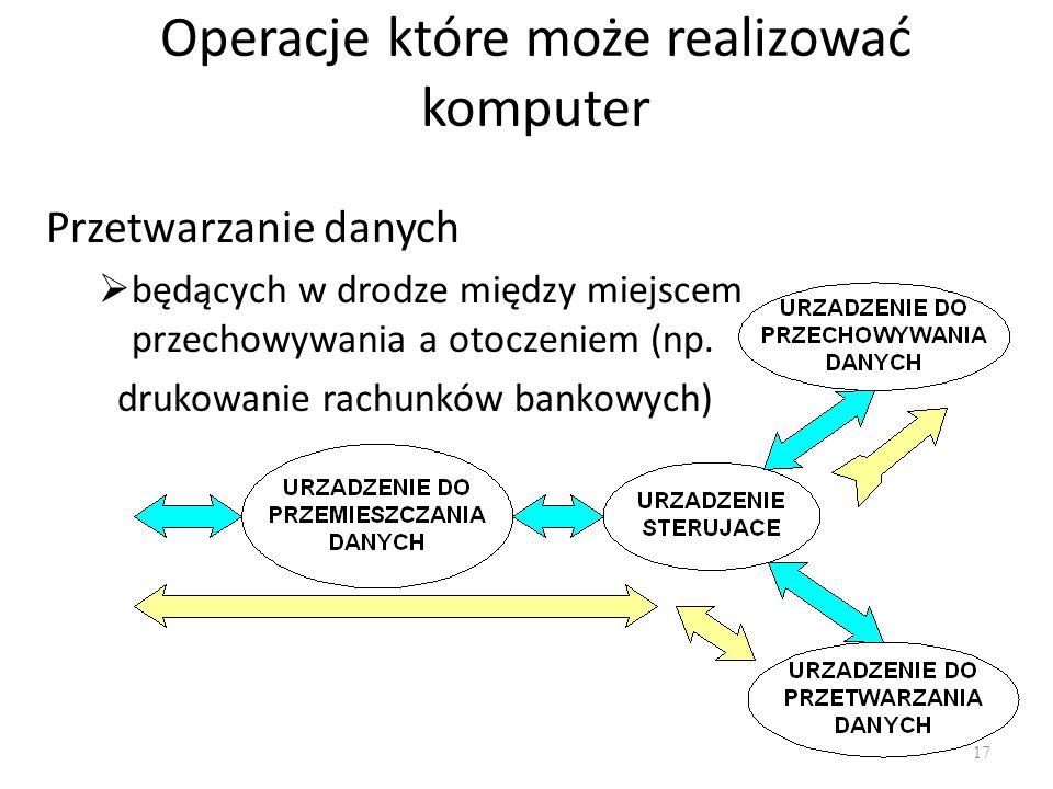 Operacje które może realizować komputer Przetwarzanie danych będących w drodze między miejscem przechowywania a otoczeniem (np. drukowanie rachunków b