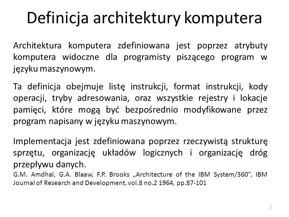 Definicja architektury komputera Architektura komputera zdefiniowana jest poprzez atrybuty komputera widoczne dla programisty piszącego program w języ