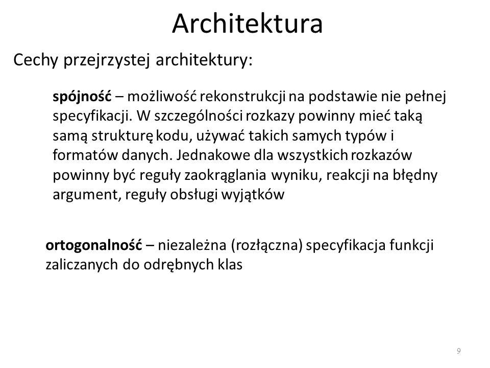 Architektura Cechy przejrzystej architektury: ortogonalność – niezależna (rozłączna) specyfikacja funkcji zaliczanych do odrębnych klas spójność – moż