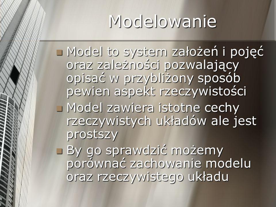 Modelowanie Model to system założeń i pojęć oraz zależności pozwalający opisać w przybliżony sposób pewien aspekt rzeczywistości Model to system założ