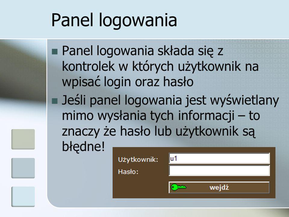 Panel logowania Panel logowania składa się z kontrolek w których użytkownik na wpisać login oraz hasło Jeśli panel logowania jest wyświetlany mimo wysłania tych informacji – to znaczy że hasło lub użytkownik są błędne!