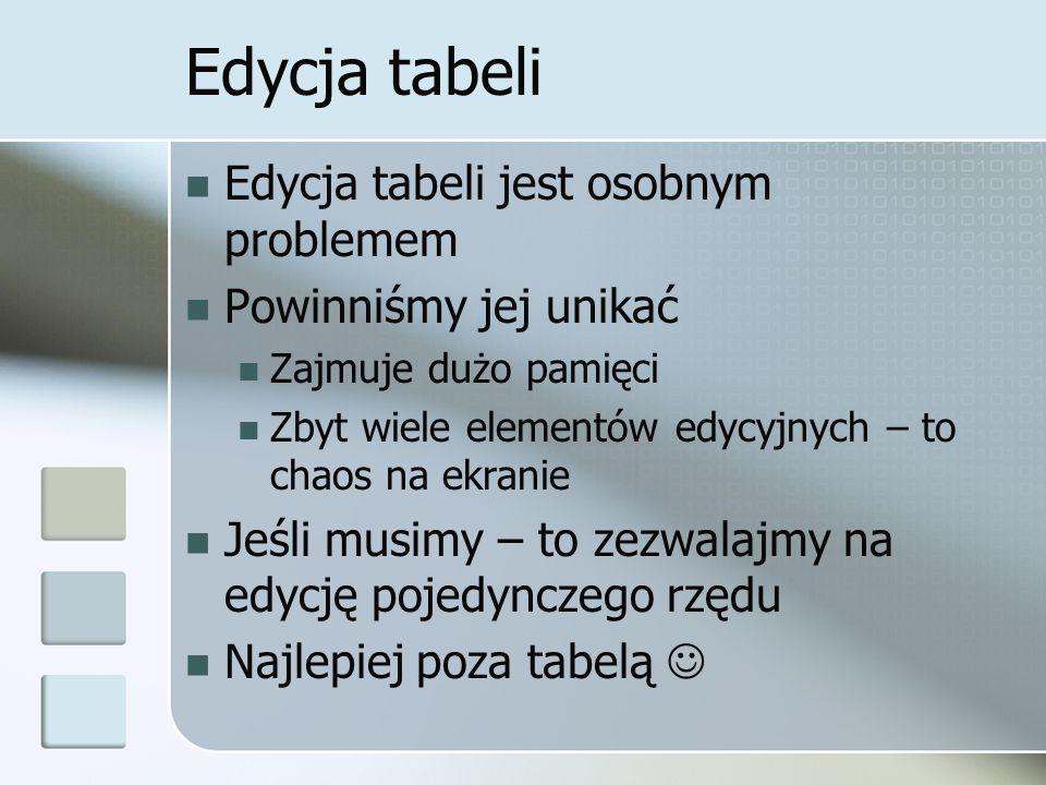 Edycja tabeli Edycja tabeli jest osobnym problemem Powinniśmy jej unikać Zajmuje dużo pamięci Zbyt wiele elementów edycyjnych – to chaos na ekranie Jeśli musimy – to zezwalajmy na edycję pojedynczego rzędu Najlepiej poza tabelą