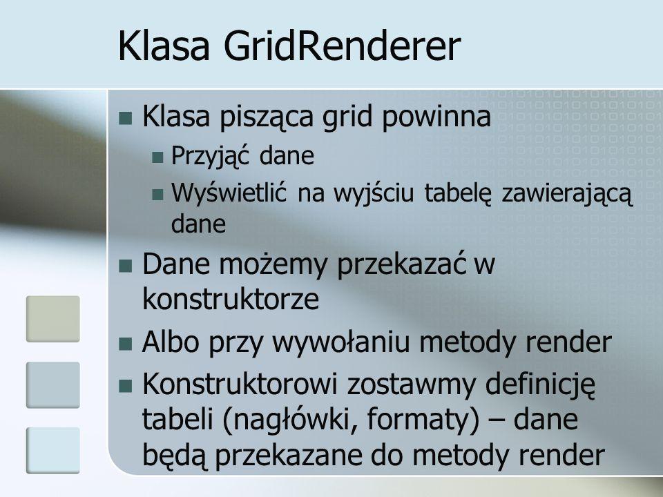 Klasa GridRenderer Klasa pisząca grid powinna Przyjąć dane Wyświetlić na wyjściu tabelę zawierającą dane Dane możemy przekazać w konstruktorze Albo pr