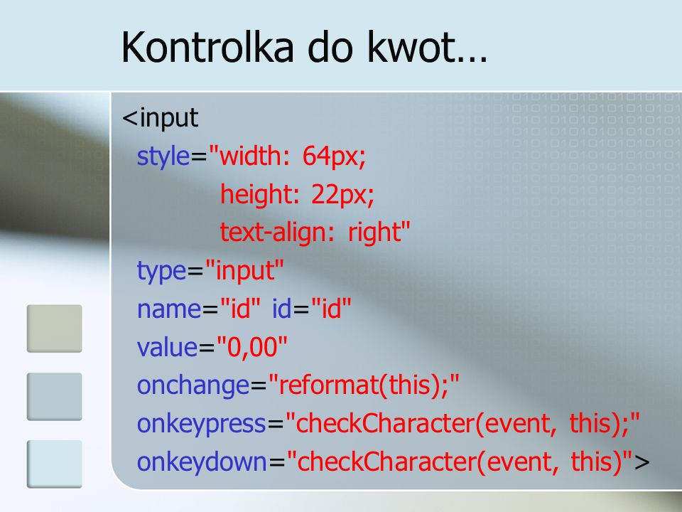 Kontrolka do kwot… <input style=