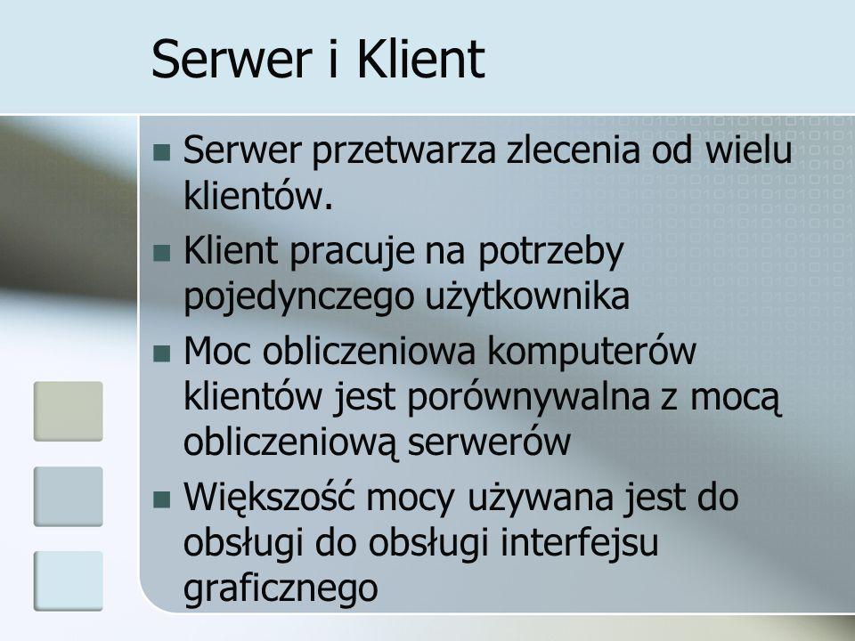 Serwer i Klient Serwer przetwarza zlecenia od wielu klientów.
