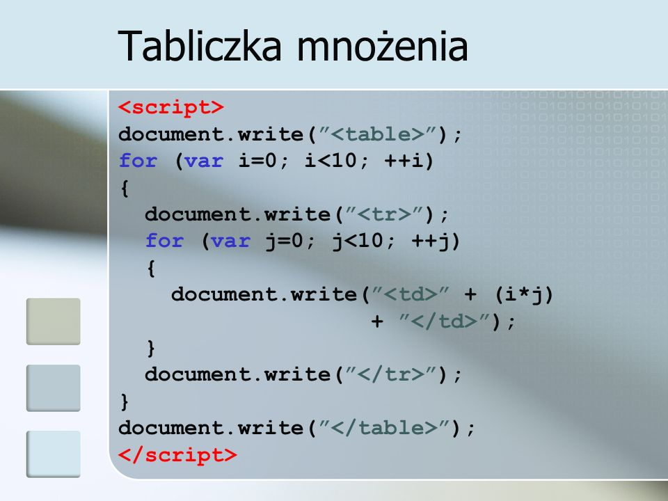 Tabliczka mnożenia document.write( ); for (var i=0; i<10; ++i) { document.write( ); for (var j=0; j<10; ++j) { document.write( + (i*j) + ); } document