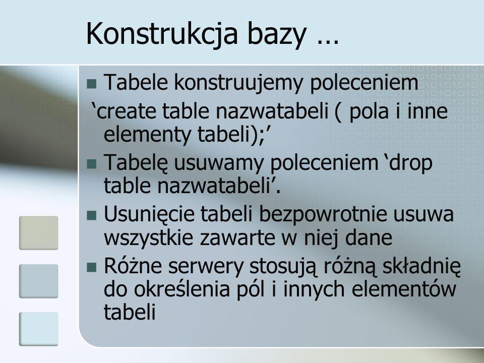 Konstrukcja bazy … Tabele konstruujemy poleceniem create table nazwatabeli ( pola i inne elementy tabeli); Tabelę usuwamy poleceniem drop table nazwat