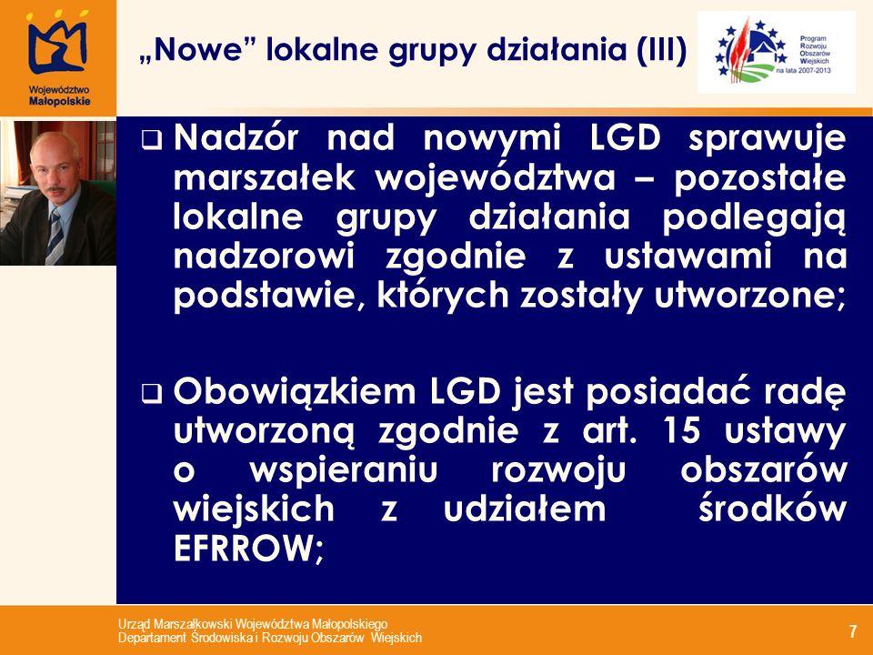 Urząd Marszałkowski Województwa Małopolskiego Departament Środowiska i Rozwoju Obszarów Wiejskich 7 Nadzór nad nowymi LGD sprawuje marszałek województwa – pozostałe lokalne grupy działania podlegają nadzorowi zgodnie z ustawami na podstawie, których zostały utworzone; Obowiązkiem LGD jest posiadać radę utworzoną zgodnie z art.