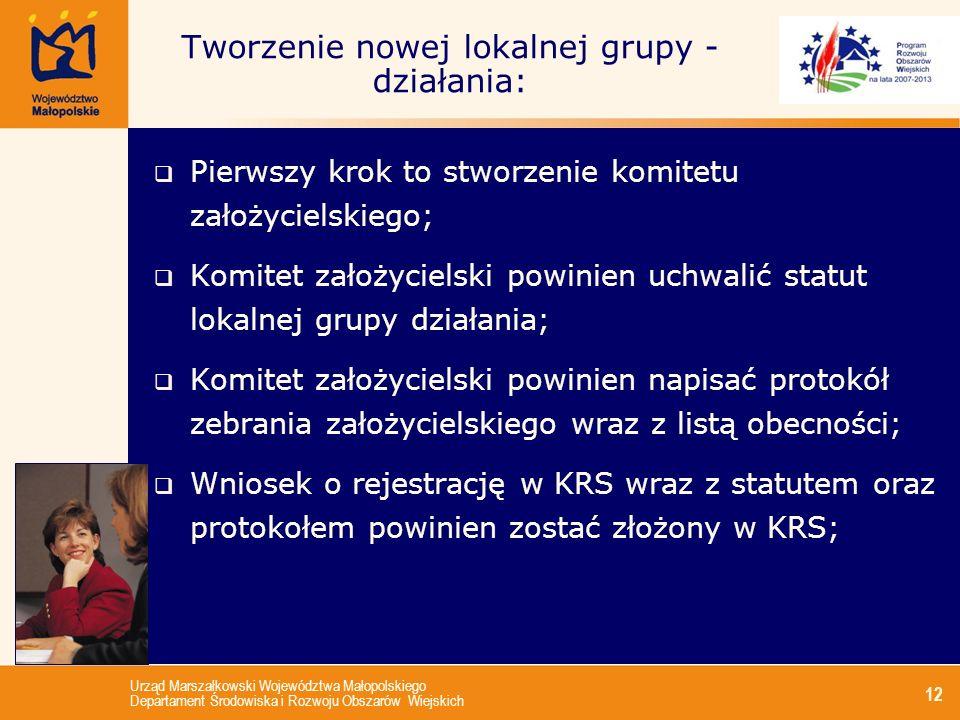 Urząd Marszałkowski Województwa Małopolskiego Departament Środowiska i Rozwoju Obszarów Wiejskich 12 Tworzenie nowej lokalnej grupy - działania: Pierw