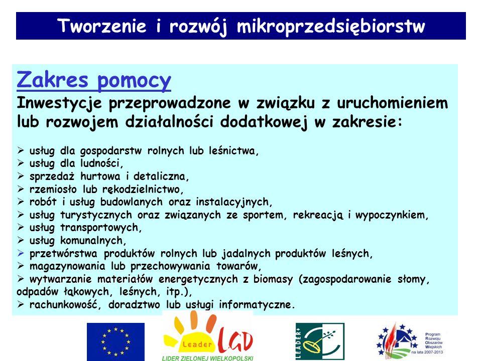 Działanie PROW Lokalne kryteria oceny projektu Przyznana ocena Tworzenie i rozwój mikroprzedsiębiorstw 1.