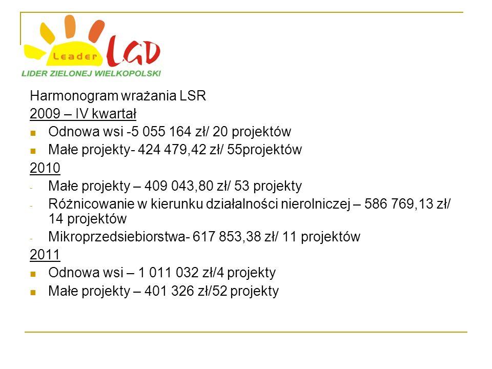 Harmonogram wrażania LSR 2009 – IV kwartał Odnowa wsi -5 055 164 zł/ 20 projektów Małe projekty- 424 479,42 zł/ 55projektów 2010 - Małe projekty – 409 043,80 zł/ 53 projekty - Różnicowanie w kierunku działalności nierolniczej – 586 769,13 zł/ 14 projektów - Mikroprzedsiebiorstwa- 617 853,38 zł/ 11 projektów 2011 Odnowa wsi – 1 011 032 zł/4 projekty Małe projekty – 401 326 zł/52 projekty