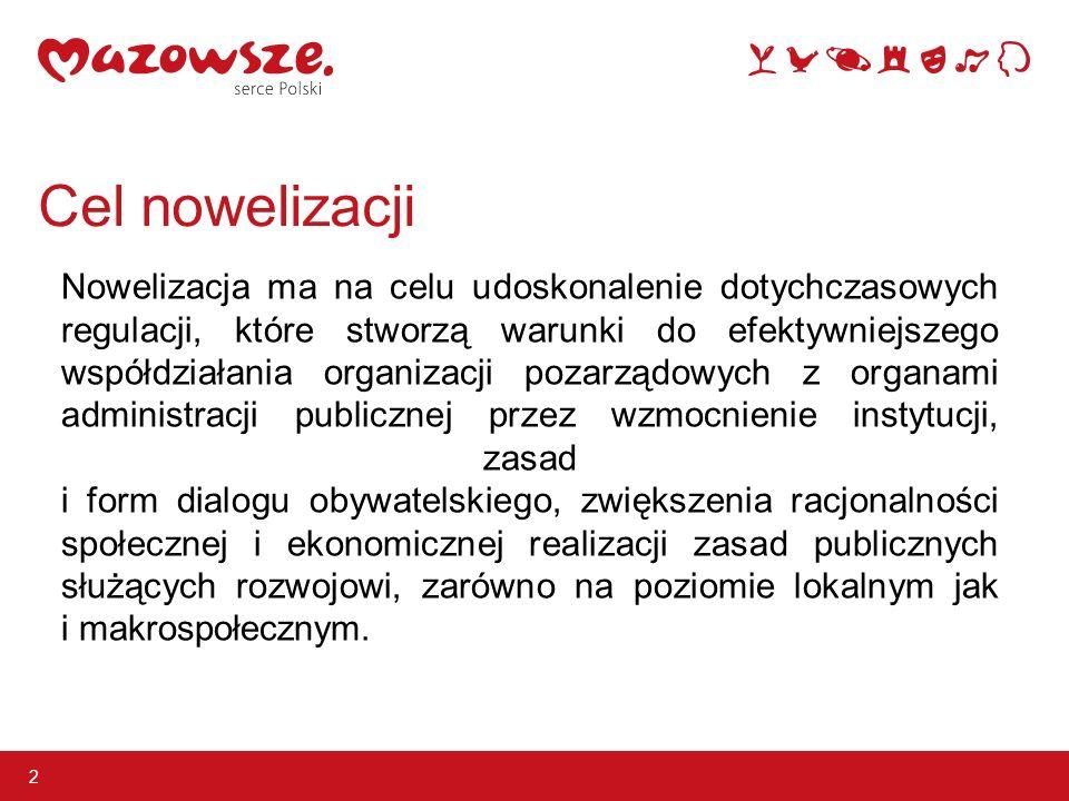 Cel nowelizacji 2 Nowelizacja ma na celu udoskonalenie dotychczasowych regulacji, które stworzą warunki do efektywniejszego współdziałania organizacji pozarządowych z organami administracji publicznej przez wzmocnienie instytucji, zasad i form dialogu obywatelskiego, zwiększenia racjonalności społecznej i ekonomicznej realizacji zasad publicznych służących rozwojowi, zarówno na poziomie lokalnym jak i makrospołecznym.