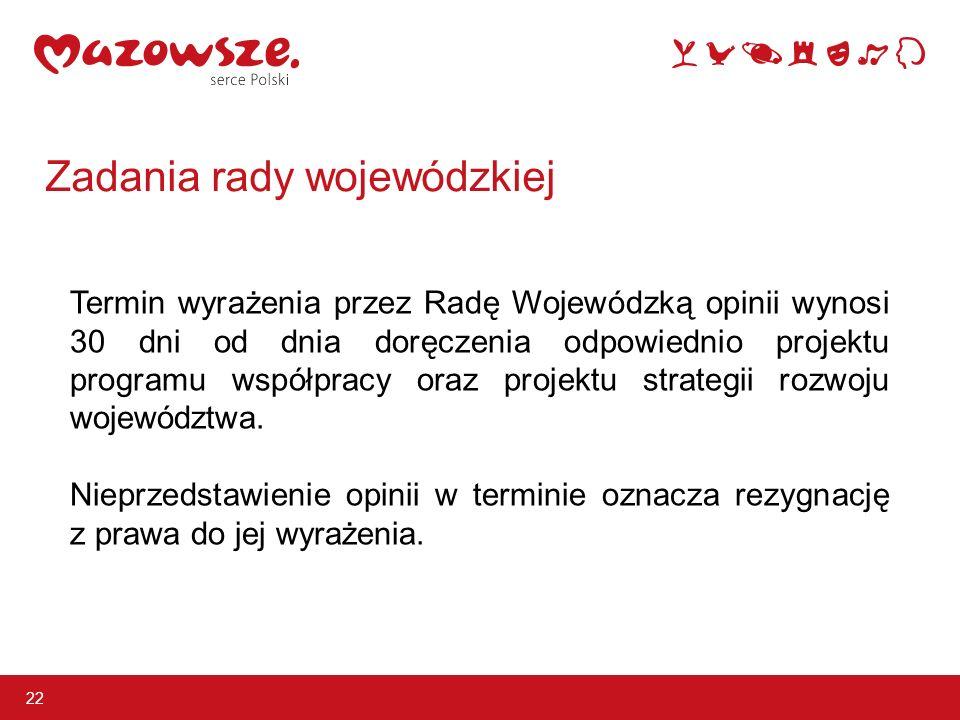 22 Termin wyrażenia przez Radę Wojewódzką opinii wynosi 30 dni od dnia doręczenia odpowiednio projektu programu współpracy oraz projektu strategii rozwoju województwa.