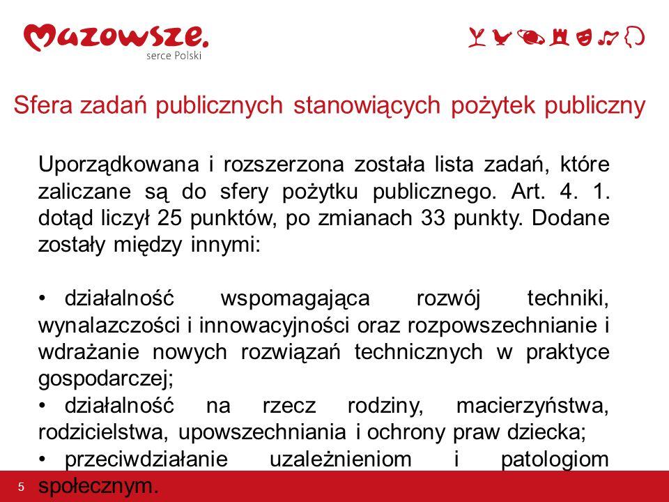Sfera zadań publicznych stanowiących pożytek publiczny 5 Uporządkowana i rozszerzona została lista zadań, które zaliczane są do sfery pożytku publicznego.