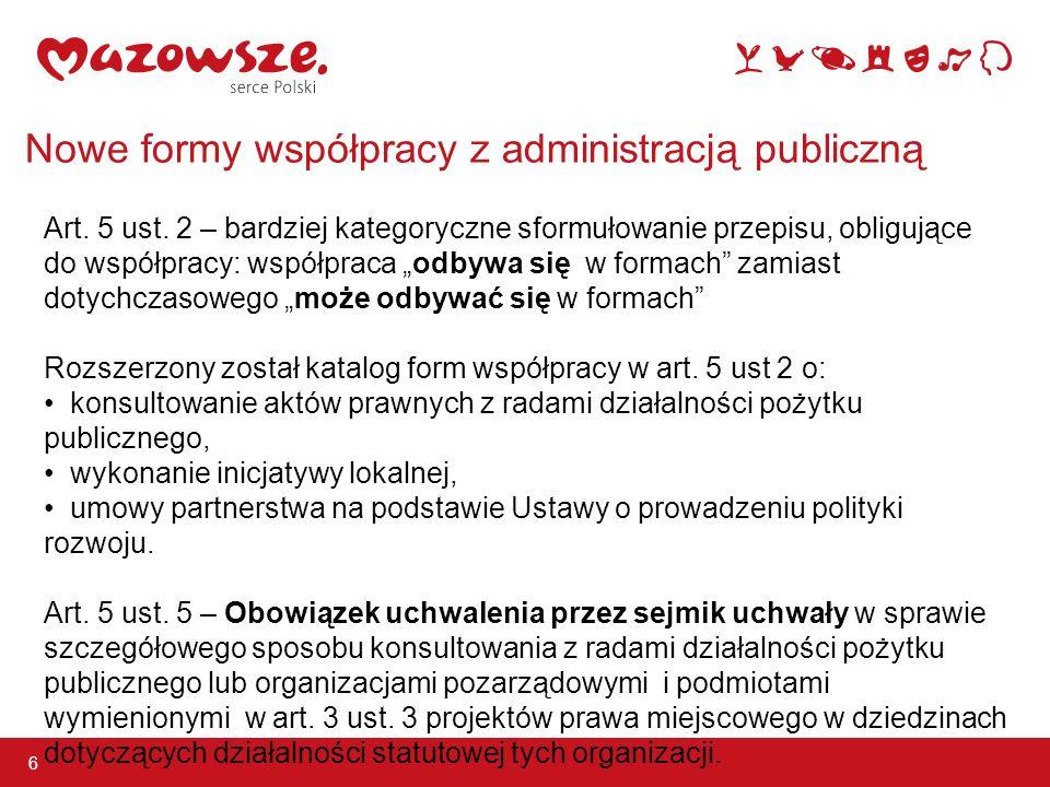 Nowe formy współpracy z administracją publiczną 6 Art.