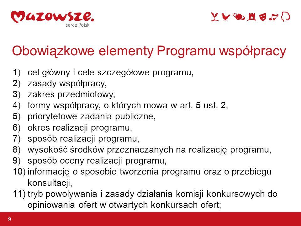 9 Obowiązkowe elementy Programu współpracy 1) cel główny i cele szczegółowe programu, 2) zasady współpracy, 3) zakres przedmiotowy, 4) formy współpracy, o których mowa w art.