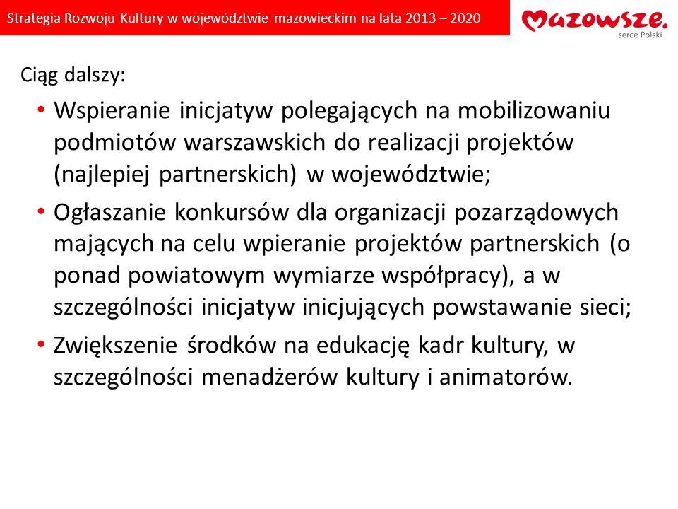 Strategia Rozwoju Kultury w województwie mazowieckim na lata 2013 – 2020 Ciąg dalszy: Wspieranie inicjatyw polegających na mobilizowaniu podmiotów war