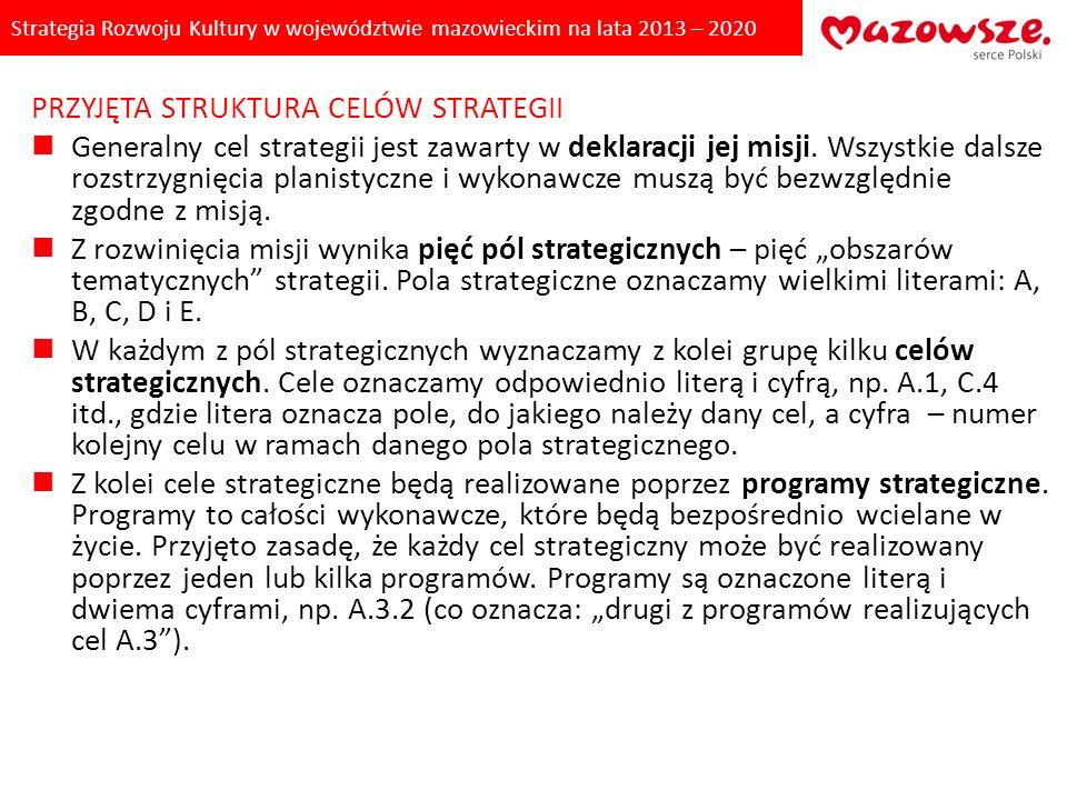 Strategia Rozwoju Kultury w województwie mazowieckim na lata 2013 – 2020 PRZYJĘTA STRUKTURA CELÓW STRATEGII Generalny cel strategii jest zawarty w dek