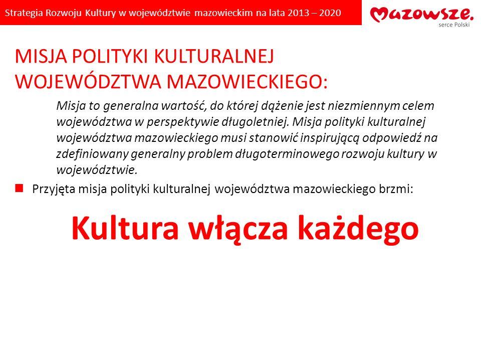 Strategia Rozwoju Kultury w województwie mazowieckim na lata 2013 – 2020 MISJA POLITYKI KULTURALNEJ WOJEWÓDZTWA MAZOWIECKIEGO: Misja to generalna wart