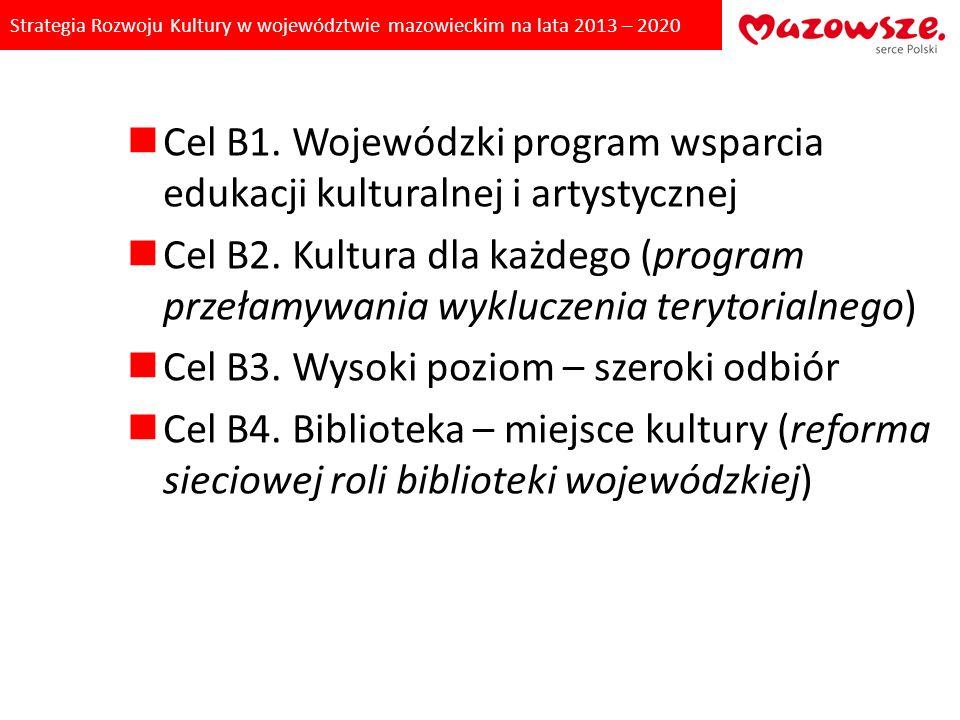 Strategia Rozwoju Kultury w województwie mazowieckim na lata 2013 – 2020 Cel B1. Wojewódzki program wsparcia edukacji kulturalnej i artystycznej Cel B