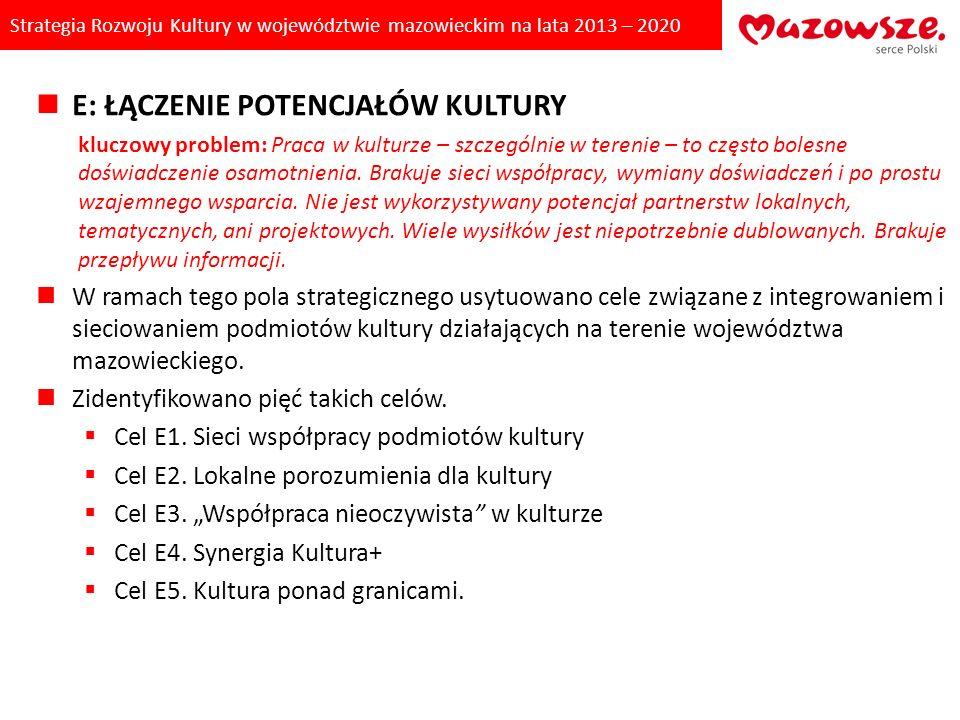Strategia Rozwoju Kultury w województwie mazowieckim na lata 2013 – 2020 E: ŁĄCZENIE POTENCJAŁÓW KULTURY kluczowy problem: Praca w kulturze – szczegól