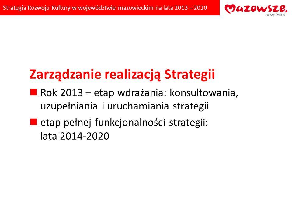 Strategia Rozwoju Kultury w województwie mazowieckim na lata 2013 – 2020 Zarządzanie realizacją Strategii Rok 2013 – etap wdrażania: konsultowania, uz