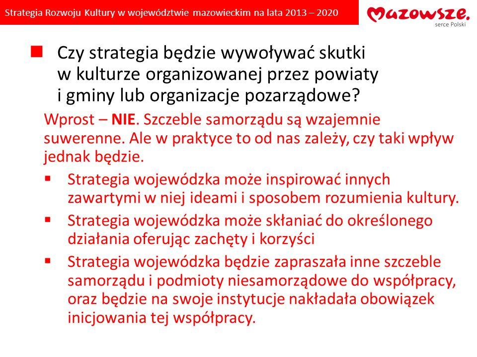 Strategia Rozwoju Kultury w województwie mazowieckim na lata 2013 – 2020 Misja: Kultura włącza każdego POLA STRATEGICZNE Pole strategiczne A: DOBRE ZARZĄDZANIE w KULTURZE Pole strategiczne B: UCZESTNICTWO – WŁĄCZENIE – WSPÓLNOTA Pole strategiczne C: DZIEDZICTWO – DIALOG – TOŻSAMOŚĆ Pole strategiczneD: KREATYWNOŚĆ – MOTOR ROZWOJU Pole strategiczne E: ŁĄCZENIE POTENCJAŁÓW KULTURY CELE I PROGRAMY STRATEGICZNE Cel A.1.