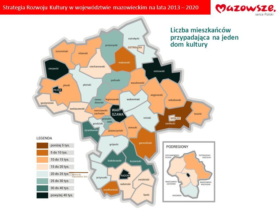 Strategia Rozwoju Kultury w województwie mazowieckim na lata 2013 – 2020 Liczba mieszkańców przypadająca na jedną placówkę biblioteczną