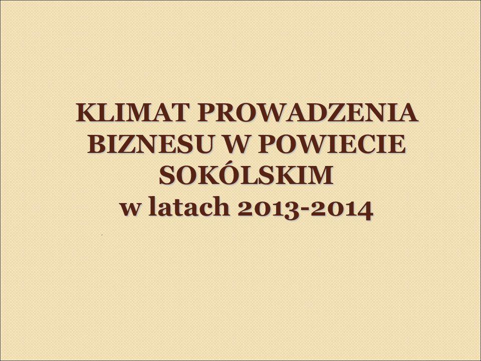 KLIMAT PROWADZENIA BIZNESU W POWIECIE SOKÓLSKIM w latach 2013-2014