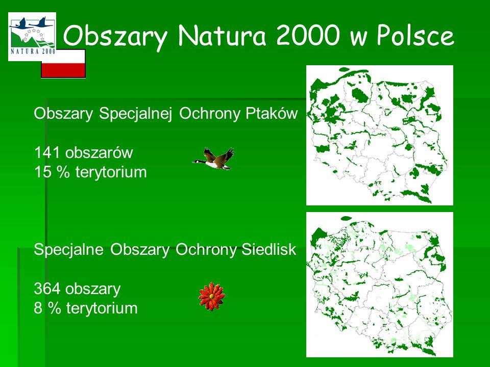 Obszary Natura 2000 w Polsce Obszary Specjalnej Ochrony Ptaków 141 obszarów 15 % terytorium Specjalne Obszary Ochrony Siedlisk 364 obszary 8 % terytor