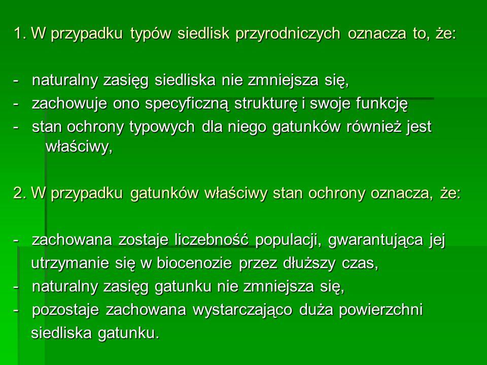 1. W przypadku typów siedlisk przyrodniczych oznacza to, że: - naturalny zasięg siedliska nie zmniejsza się, - zachowuje ono specyficzną strukturę i s