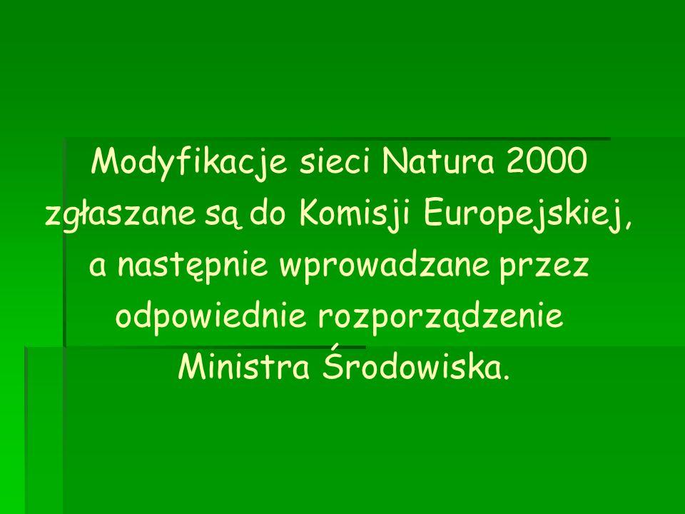 Modyfikacje sieci Natura 2000 zgłaszane są do Komisji Europejskiej, a następnie wprowadzane przez odpowiednie rozporządzenie Ministra Środowiska.