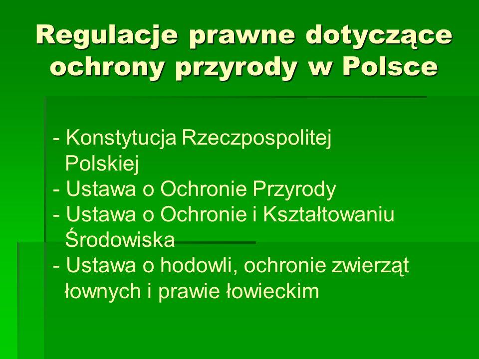 Regulacje prawne dotyczące ochrony przyrody w Polsce - Konstytucja Rzeczpospolitej Polskiej - Ustawa o Ochronie Przyrody - Ustawa o Ochronie i Kształt