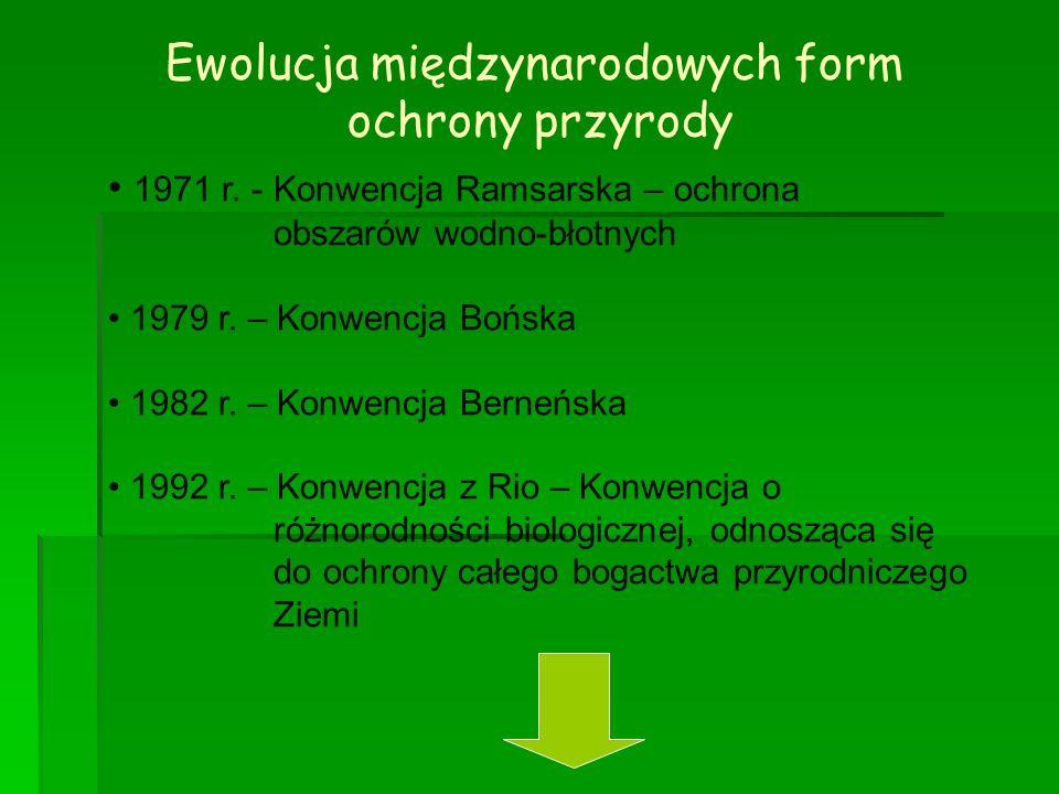 Ewolucja międzynarodowych form ochrony przyrody 1971 r. - Konwencja Ramsarska – ochrona obszarów wodno-błotnych 1979 r. – Konwencja Bońska 1982 r. – K