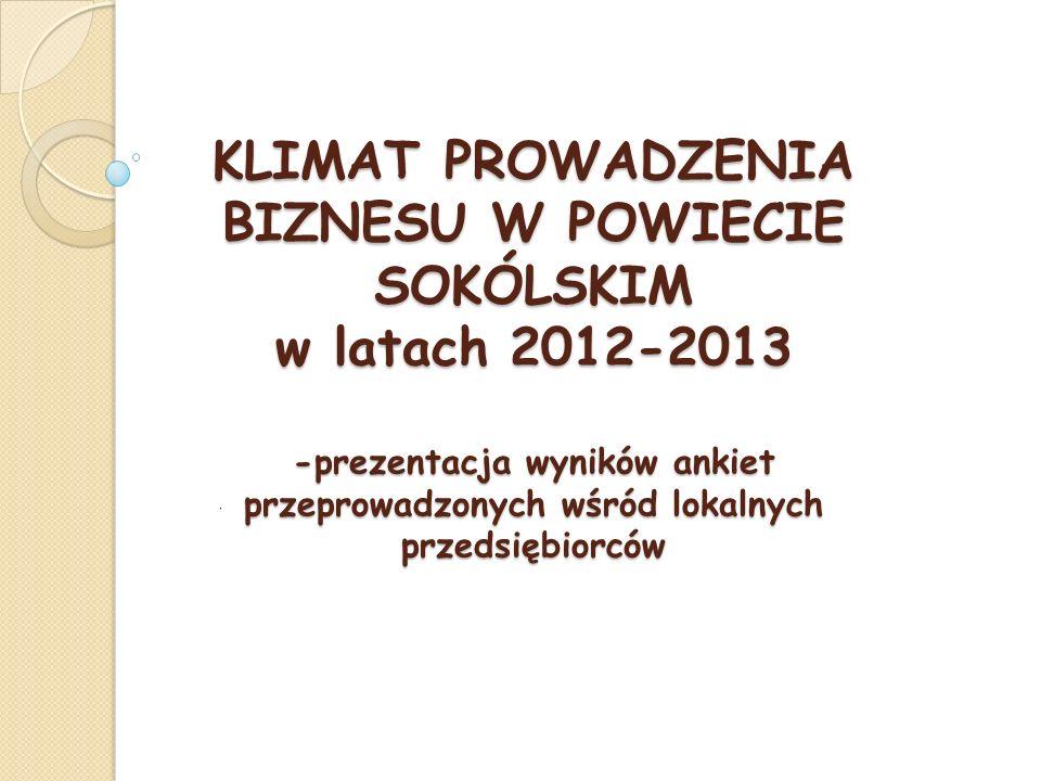 KLIMAT PROWADZENIA BIZNESU W POWIECIE SOKÓLSKIM w latach 2012-2013 -prezentacja wyników ankiet przeprowadzonych wśród lokalnych przedsiębiorców