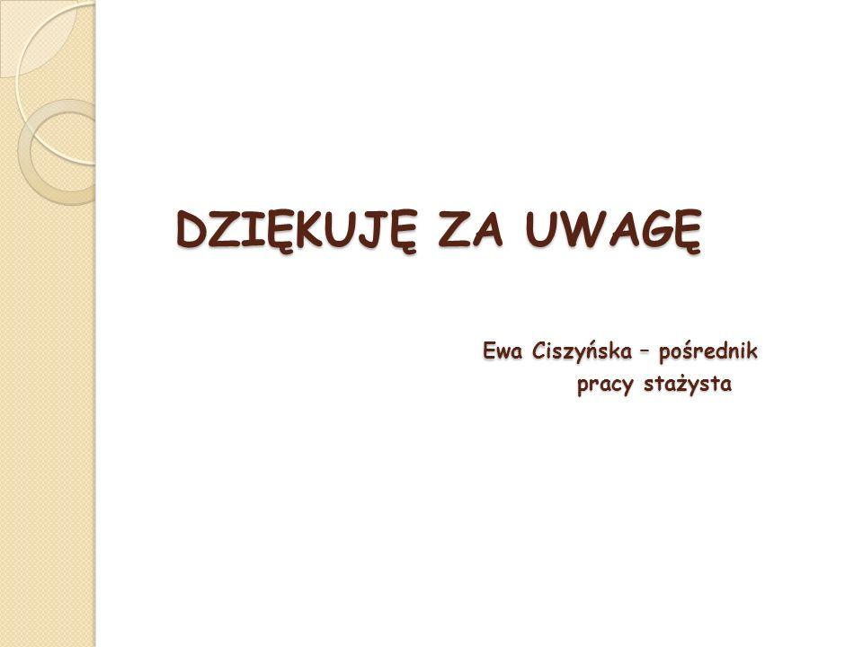 DZIĘKUJĘ ZA UWAGĘ Ewa Ciszyńska – pośrednik pracy stażysta