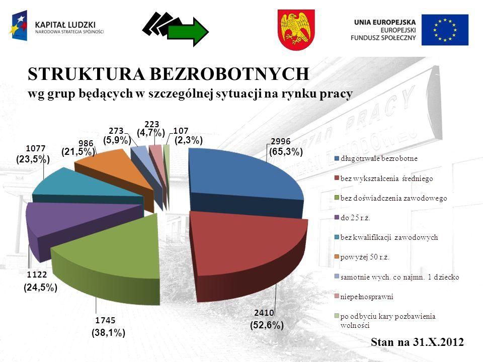 STRUKTURA BEZROBOTNYCH wg grup będących w szczególnej sytuacji na rynku pracy (65,3%) (52,6%) (38,1%) (24,5%) (23,5%) (21,5%) (5,9%) (4,7%) (2,3%) Stan na 31.X.2012