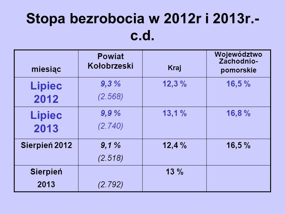 Środki zaangażowane na aktywizację osób bezrobotnych wg form aktywizacji 31.08.2013r c.d.
